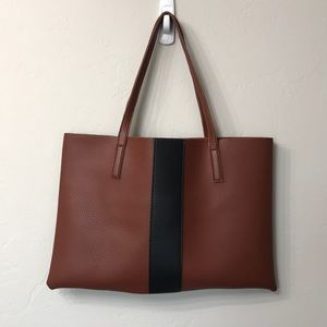 Vince Camuto brown and black striped tote.